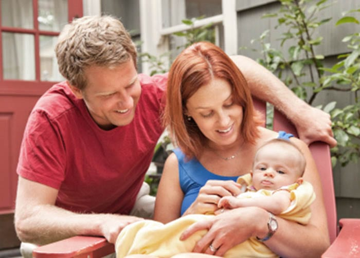 Healthy Family with Child and a New Heating and Air Conditioning System
